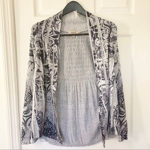 One World Gray Open Ruched Cardigan Size Medium